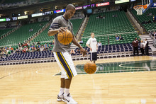 Chris Detrick  |  The Salt Lake Tribune Utah Jazz shooting guard Raja Bell (19) warms up before the game at EnergySolutions Arena Thursday April 26, 2012.