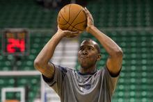 Chris Detrick  |  The Salt Lake Tribune Utah Jazz shooting guard Raja Bell (19) warms up before the game at EnergySolutions Arena Thursday April 26, 2012.