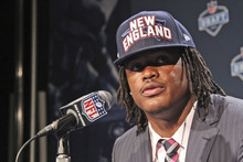 Alabama's Dont'a Hightower speaks to reporters after being selected 25th overall by the New England Patriots in the first round of the NFL football draft at Radio City Music Hall, Thursday, April 26, 2012, in New York. (AP Photo/Mary Altaffer)