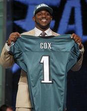 Mississippi State defensive tackle Fletcher Cox poses for photographs after being selected as the 12th pick overall by the Philadelphia Eagles in the first round of the NFL football draft at Radio City Music Hall, Thursday, April 26, 2012, in New York. (AP Photo/Jason DeCrow)