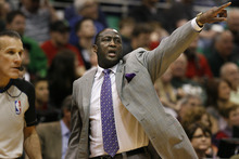 Scott Sommerdorf  |  The Salt Lake Tribune              Utah Jazz head coach Tyrone Corbin directs his team during first half play. The Utah Jazz trailed the Golden State Warriors 51-46 at the half at Energy Solutions Arena, Saturday, March 17, 2012.