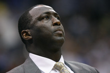 Chris Detrick  |  The Salt Lake Tribune Utah Jazz head coach Tyrone Corbin watches during the second quarter of the game at EnergySolutions Arena Thursday April 26, 2012. .