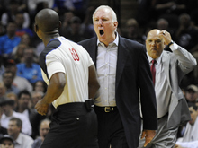 San Antonio Spurs head coach Gregg Popovich, center, yells at referee James Williams, left, before being ejected in the second half of an NBA basketball game against the New York Knicks, Wednesday, March 7, 2012, in San Antonio. San Antonio won 118-105. (AP Photo/Darren Abate)
