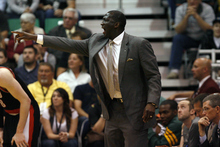 Chris Detrick  |  The Salt Lake Tribune Utah Jazz head coach Tyrone Corbin yells during the fourth quarter of the game at EnergySolutions Arena Thursday April 26, 2012. The Jazz won the game 96-94.