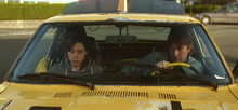 Aubrey Plaza and Mark Duplass in a scene from