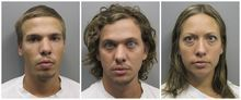 FILE - This photo combo made from file photos provided Wednesday, Aug. 10, 2011 by the Pueblo County Sheriff's Office shows, from left, Ryan Edward Dougherty, 21, Dylan Stanley-Dougherty, 26, and Lee Grace Dougherty, 29. Three Florida siblings accused of shooting at a police officer and staging a daring bank robbery in a multistate crime spree are facing sentencing on charges stemming from their shootout and capture in Colorado. (AP Photo/Pueblo County Sheriff's Office, File)