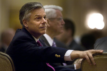 Scott Sommerdorf  |  The Salt Lake Tribune              Jon Huntsman, Jr. listens to other speakers as he waits for his turn to speak at the 2012 Corporate Friends Breakfast and Envision Utah's 15th Anniversary Celebration, at the Little America Hotel Ballroom, Monday, April 30, 2012.