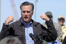 Republican presidential candidate, former Massachusetts Gov. Mitt Romney gestures as he speaks at the state fishing pier, Monday, April 30, 2012, in Portsmouth, N.H. (AP Photo/Jim Cole)
