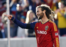 Rick Egan  | The Salt Lake Tribune   Real Salt Lake's Kyle Beckerman (5)  celebrates after scoring Salt Lake's first goal of the night, early in the first period, Saturday, April 28, 2012.