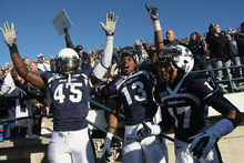 Chris Detrick  |  The Salt Lake Tribune The Utah State Aggies were happy after beating Nevada last season. They're even happier now that they're leaving the Western Athletic Conference for the Mountain West Conference.