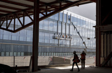 Trent Nelson  |  The Salt Lake Tribune Construction continues on the first phase of Adobe's new campus Tuesday, May 1, 2012 in Lehi, Utah. The 280,000 square-foot building is set to be completed in late 2012.