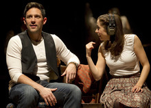 In this theater image released by Boneau/Bryan-Brown, Steve Kazee, left, and Cristin Milioti are shown in a scene from