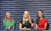 In this Sunday, Nov. 6, 2011, photo released by CBS News Liddy Huntsman, from left, Mary Anne Huntsman and Abby Huntsman Livingston, daughters of 2012 Republican presidential candidate Jon Huntsman, appear on CBS's