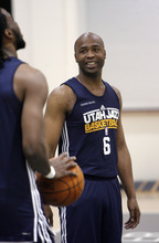 Francisco Kjolseth  |  The Salt Lake Tribune Utah Jazz guard Jamaal Tinsley has a little fun with teammates prior to practice on Tuesday, May 2, 2012, at the Zions Bank Basketball Center. The Utah Jazz are getting ready for round two of the playoffs against San Antonio with much of their work hindering on their ability to defend Tony Parker of the Spurs.