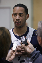Francisco Kjolseth  |  The Salt Lake Tribune Utah point guard Devin Harris speaks with the media prior to practice on Tuesday, May 1, 2012. The Utah Jazz working to get ready for round two of the playoffs against San Antonio as they practice at the Zions Bank Basketball Center. Much of their work hinders on their ability to defend Tony Parker of the Spurs.