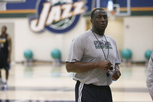 Francisco Kjolseth  |  The Salt Lake Tribune The Utah Jazz coach Tyrone Corbin gets ready for round two of the playoffs against San Antonio as they practice at the Zions Bank Basketball Center on Tuesday, May 1, 2012. Much of their work hinders on their ability to defend Tony Parker of the Spurs.