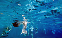 A boy jumps into the water on the occasion of the season opening of public swimming pools during warm and sunny weather in Munich, Southern Germany, Tuesday, May 1, 2012. (AP Photo/dapd, Joerg Koch)