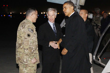 President Barack Obama is greeted by Lt. Gen. Curtis