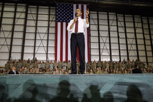 President Barack Obama addresses troops at Bagram Air Field, Afghanistan, Wednesday, May 2, 2012. (AP Photo/Charles Dharapak)