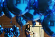 Steve Griffin/The Salt Lake Tribune Kendyl Bell, 2012 Miss Utah USA, didn't find out she had asthma untll she was 17 so created Blue Balloon Day to encourage environments where everyone can breath clean air and have healthy lungs. In conjunction with World Asthma Day,  Bell talked with students at Scera Park Elementary, about asthma, during assembly  in Orem, Utah Tuesday May 1, 2012.