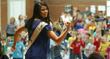 Steve Griffin/The Salt Lake Tribune   Kendyl Bell, 2012 Miss Utah USA, didn't find out she had asthma untll she was 17 so created Blue Balloon Day to encourage environments where everyone can breath clean air and have healthy lungs. In conjunction with World Asthma Day,  Bell talked with students at Scera Park Elementary, about asthma, during assembly  in Orem, Utah Tuesday May 1, 2012. Here she instructs the students in a dance routine.