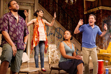 In this theater image released by O+M Co., from left, Damon Gupton, Annie Parisse, Crystal A. Dickinson, and Jeremy Shamos are shown in a scene from