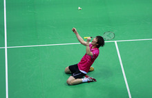 Shon Wan-ho of South Korea reacts after winning over World's No. 1, Lee Chong Wei of Malaysia in the men's singles final at the India Open badminton tournament in New Delhi, India, Sunday, April 29, 2012. (AP Photo/ Saurabh Das)