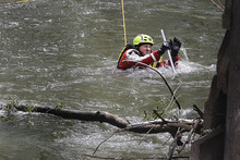 Scott Sommerdorf  |  The Salt Lake Tribune              Search efforts for a 4-year-old boy presumed drowned continued further down river at a bridge near Exchange Road and 21st Street in Ogden, Monday, April 30, 2012. Searchers extended their search pattern further north on the Weber River Monday morning.
