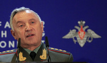 Chief of General Staff Nikolay Makarov speaks at Russian Ministry of Defense's Conference on Missile Defense in Moscow on Thursday, May 3, 2012. President Medvedev last year threatened that Russia will retaliate if it does not reach agreement with the United States and NATO. Makarov on Thursday confirmed that stance, saying that that Russia will take