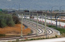 Rick Egan  | The Salt Lake Tribune  TRAX construction, near the Salt Lake International Airport.