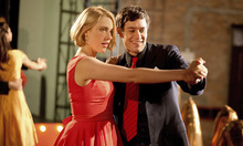 Violet (Greta Gerwig) dances with a smooth operator (Adam Brody) in Whit Stillman's campus comedy