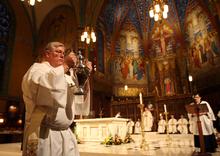 Kim Raff | The Salt Lake Tribune Utah Catholics, here celebrating last month's Chrism Mass at Salt Lake City's historic Cathedral of the Madeleine, make up Utah's second-largest religious group.