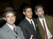In this March 28, 2006 file photo, members of the Beastie Boys, from left, Adam Horovitz, known as Adrock, Michael Diamond, known as Mike D and Adam Yauch, known as MCA, arrive at the premiere of their new film