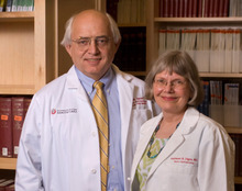 U. medical school professors Michael Varner and Kathleen Digre, who are married, share this year's Rosenblatt prize, the U.'s highest faculty honor. Photo courtesy University of Utah.