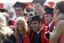 Francisco Kjolseth  |  The Salt Lake Tribune University of Utah students are all smiles as they pose for pictures following commencement ceremonies at the Huntsman Center in Salt Lake City on Friday, May 4, 2012.