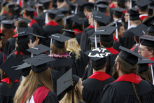 Francisco Kjolseth  |  The Salt Lake Tribune Ryan Ingle expresses what most students usually feel once they reach graduation with the words