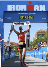 Meredith Kessler wins the women's division of the St. George Ironman race, Saturday, May 5, 2012, in St. George, Utah. (AP Photo/The Spectrum, Asher Swan) NO SALES; TV OUT; MAGS OUT