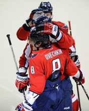 Washington Capitals left wing Alex Ovechkin (8), of Russia, celebrates his goal against the New York Rangers during the first period of Game 4 of an NHL hockey Stanley Cup second-round playoff series, Saturday, May 5, 2012, in Washington. (AP Photo/Nick Wass)