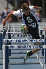 Rick Egan    The Salt Lake Tribune   Jaxon Worthen, Syracuse,  runs in the boys 110 meter hurdles, at the BYU Invitational track meet in Provo, Saturday, May 5, 2012.