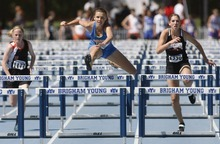 Rick Egan    The Salt Lake Tribune   L-R Kaitlin Clark, Mountain Crest trails Ellery Young, Orem, and Paige Francks, North Sanpete, in the girl's 100 meter hurdles, at the BYU Invitational track meet in Provo, Saturday, May 5, 2012.