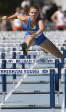 Rick Egan    The Salt Lake Tribune    Ellery Young, Orem, competes in the girl's 100 meter hurdles, at the BYU Invitational track meet in Provo, Saturday, May 5, 2012.