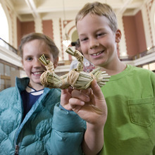 Paul Fraughton | Salt Lake Tribune Gabriella Zipek, 10,  and Tristam Gaylord, 10, show off the duck decoys they made from tule reeds at the archaeology open house Saturday at the Utah  State History Museum at the Rio Grande Depot. The event, part of Archaeology Week activities, began Saturday and will run through May 12th.  At the open house, children participated in hands on activities with a  archaeological theme.  Saturday, May 5, 2012