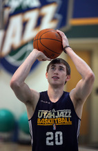 Lennie Mahler  |  The Salt Lake Tribune Gordon Hayward shoots around during a practice at the Zions Bank Basketball Center on Sunday, May 6, 2012.