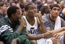 Jeremy Harmon     The Salt Lake Tribune  Jeremy Evans, Alec Burks and Enes Kanter watch as the Jazz fall behind in the second half as Utah hosts the Spurs in the first round of the NBA playoffs at EnergySolutions Arena in Salt Lake City, Saturday, May 5, 2012.