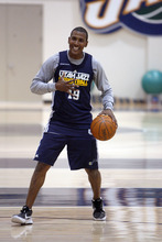 Francisco Kjolseth     The Salt Lake Tribune Utah Jazz Raja Bell has a little fun with teammates prior to practice on Tuesday, May 2, 2012, at the Zions Bank Basketball Center. The Utah Jazz are getting ready for round two of the playoffs against San Antonio with much of their work hindering on their ability to defend Tony Parker of the Spurs.