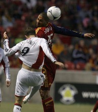 Rick Egan  | The Salt Lake Tribune   Real Salt Lake's Alvaro Saborio (15)  gets his head on the ball, along with Jose Moreno, in MLS action, Real Salt Lake vs. New England Revolution, at Rio Tinto Stadium, Saturday, May 5, 2012.