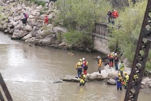 Paul Fraughton | Salt Lake Tribune With the levels of the Weber River lowered, volunteers search Saturday, May 5, 2012, for the body of a 4-year-old Layton boy who fell into the swiftly moving waters more than a week earlier.