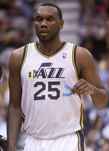 Jeremy Harmon     The Salt Lake Tribune  Al Jefferson leaves the court as the Jazz host the Spurs in the first round of the NBA playoffs at EnergySolutions Arena in Salt Lake City, Saturday, May 5, 2012.