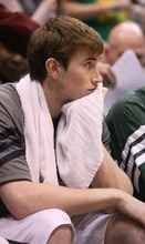 Paul Fraughton / The Salt Lake Tribune Utah's Gordon Hayward sits on the bench watching as his Utah Jazz go down 87-81 to the Spurs.  The Jazz were swept losing four games of the seven-game NBA Playoffs series.