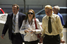 Francisco Kjolseth  |  The Salt Lake Tribune Shannon Price, center, ex-wife of actor Gary Coleman, appears in Fourth District Court in Provo on Monday, May 7, 2012, for the start of a two-day hearing over the late Coleman's estate. At left is Shannon's attorney Todd Bradford and her brother Sam Price.
